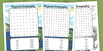Physical Geography Wordsearch - wordsearch, geography, physical