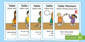 Table Manners Rules Display Posters English/Polish - table, manners, manner, eating, eat, fork, knife, EAL, lunch, dinner, nicely, EAL,Polish-translation