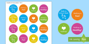 Walk to School Week Stickers - Requests KS1, healthy, active, exercise, walking