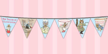 The Tailor of Gloucester Bunting - tailor, gloucester, bunting, display