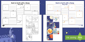 Back to Earth With a Bump Story Map Activity Sheet - retell, key events, story telling, KS1, space, worksheet
