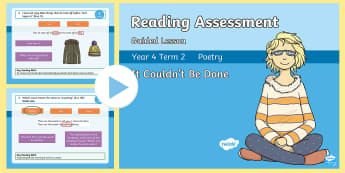 Year 4 Term 2 Poetry Reading Assessment Guided Lesson PowerPoint - poem, poet, language, comprehension, vocabulary, descriptive, subtext