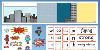Superhero Comic Strip Display Key words - superhero, key words