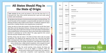 State of Origin 2017 Features of a Persuasive Text Activity Sheets - Australia, Australian, English Curriculum, State of Origin, Persuasive Text, Persuasive features,Aus