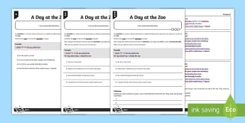 A Day at the Zoo Fronted Adverbials Differentiated Activity Sheet Pack - GPS, verb, adverb, adverbial, spelling, punctuation, grammar, worksheet