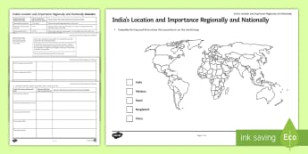 India's Location and Importance Regionally and Nationally Activity Sheet - gdp, internet,research, nee, developing, data, worksheet