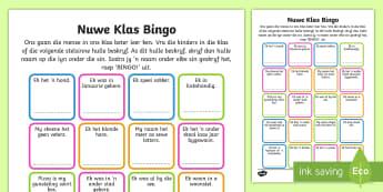 Nuwe klas bingo - New Class Bingo - transition, games, classroom games, preparation, trasition, bump up day, tranistio