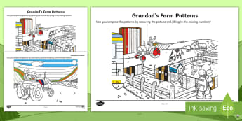 Grandad's Farm Patterns Activity Sheet -  ROI, on the Farm, farm animals, sequences, repeating patters, Aistear, Story, Maths, Activity Sheet