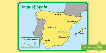 Spain Display Map - Spain, map, country, countries, continents, display