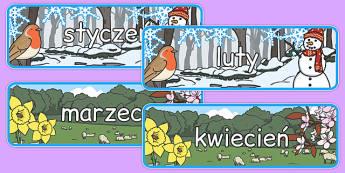 Plakat Miesiące i pory roku po polsku - kalendarz, przedszkole