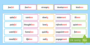 Suffix Word Cards  - Suffix Word List - suxxif, ly, ment, ness, ful, year 2, y2, ks1, key stage 1, year two, y1, year one