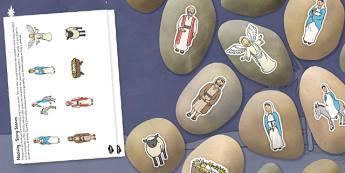 Nativity Story Stone Image Cut Outs - nativity, story stone, image, cut outs