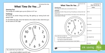 What Time Do You...? Activity Sheet - Amazing Fact Of The Day, activity sheets, powerpoint, starter, worksheet, morning activity, May, tim