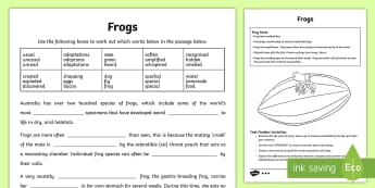 Australian Animals Years 3-6 Frogs Differentiated Activity Sheets - Australian Animals, reptiles, cloze passages, activity sheets, word search, research, fast finisher,