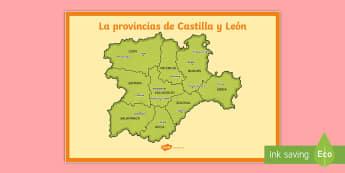 Póster DIN A2: La comunidad de Castilla y León - Mapas, provinicias, mapas mudos, mapas en blanco, las ciudades de españa, comarcas, concejos, comun