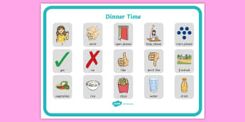 Dinner Time Communication Board - ASD, autism, early years, low functioning, PECS, communication board, functional communication