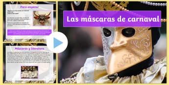 Presentación: Las máscaras de Carnaval - carnaval, mardi gras, carnestolendas, tradiciones, cuaresma, packs de planificación,Spanish