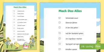 Ostern mach das alles Poster DIN A4 - Easter, bucket list, chocolate, zoo, easter eggs, cupcakes, birds, Ostern, Liste, Schokolade, Ostere