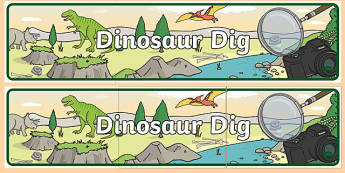Dinosaur Dig Display Banner - Dinosaur Museum Role Play Pack, museum, dinosaurs, fossils, tyrannosaurus, triceratops, pterodactyl, role play, display, poster