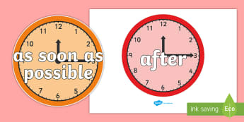 Time Conjunctions on Clocks - time, connectives, clock, after
