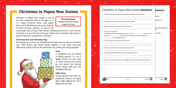 Christmas Around the World: Papua New Guinea Differentiated Reading Comprehension Activity-Australia