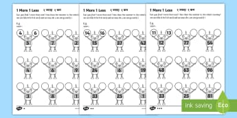 1 More 1 Less Robots Activity Sheets English/Hindi - 1 More 1 Less Robots Activity Sheet - activity, robot, numbers, numbes, 1 more 1less, nubers, fewer,