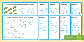 Number Playdough Mats (11-20) - Playdough mat, playdough resources, numeracy, numbers, playdough