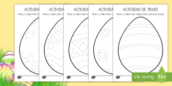 Ficha de motricidad fina: Trazo - Huevos de Pascua - trazo, trazar, reseguir, huevo, Pascua, Semana Santa,  control de lápiz, motricidad fina, ,Spanish