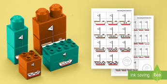 Number Matching Boats to 10 Matching Connecting Bricks Game - duplo, lego, building, boats, seaside, Maths, Numeracy, numbers, counting