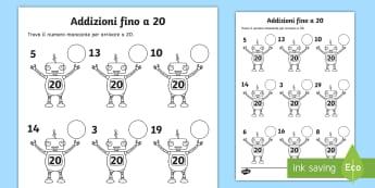 Addizioni fino a 20 con i robot Attività - matematica, addizione, sottrazione, calcoli, semplici, italiano, italian, materiale, scolastico