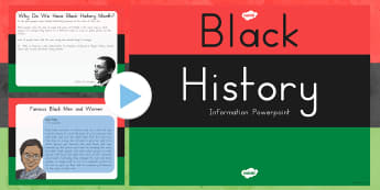 Black History Month Informative PowerPoint - US Resources, President, Obama, K, 1st, 2nd, 3rd, 4th, 5th, Black History