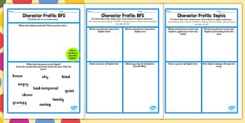Character Profile Sophie Worksheet to Support Teaching on The BFG - bfg, character, worksheet