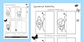 Butterfly Symmetry Shape Worksheet - australia, symmetry, shape
