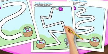 Afrikaans Easter Hunt Pencil Control Path Worksheets - afrikaans
