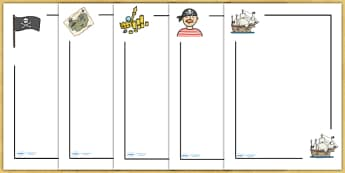 Pirates Page Borders - Page border, border, Pirate, Pirates, Topic, pirate, pirates, treasure, ship, jolly roger, ship, island, ocean