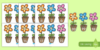 Number Bonds to 20 on Flowers and Pots - number bonds, number bonds to 20, 20 number bonds, number bonds on flowers and pots, flowers, addition, numeracy