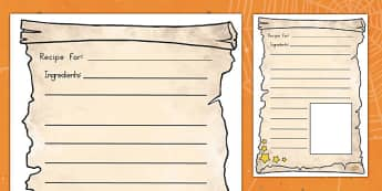 Magic Potion Recipe Writing Frames - writing, english, american, us, usa, instructions, food, witches, wizards, spell, early years, ks1, ks2, key stage, kindergarten,
