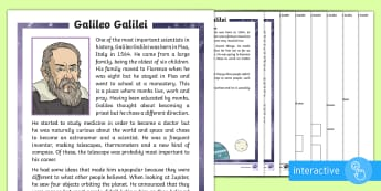 KS1 Galileo Galilei Differentiated Comprehension Go Respond Activity Sheets - Galileo, Galilei, solar system, planet, planets, star, stars, sun, moon, moons, Earth, Jupiter, orbi