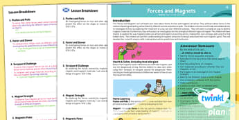 PlanIt - Science Year 3 - Forces and Magnets Planning Overview CfE - planit