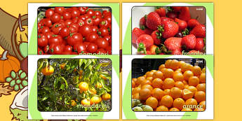 Harvest Fruit and Vegetable Display Photos (Italian) - Display Posters, A4, display, posters, harvest, harvest festival, fruit, apple, pear, orange