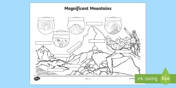 Labelling Magnificent Mountains Activity Sheet - Magnificent Mountains Display Poster - magnificent, mountains, moutains,worksheet,worksheets, mounta