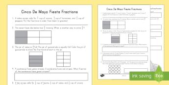 Cinco De Mayo Fractions Activity - Cinco de Mayo, fractions, math Numbers and Fractions, 3rd grade. NF, fiesta,