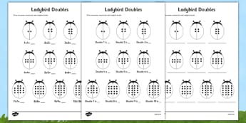 Doubles to 20 Ladybird Activity Sheet - doubles, 20, ladybird, activity, sheet, worksheet