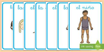 Pósters DIN A4: Las partes del cuerpo - las partes del cuerpo, el cuerpo, la cara, brazo, pierna, pie, codo, hombro, nariz, boca, ojos, orej