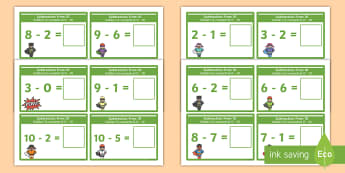 Subtraction From 10 Cards English/Romanian - Subtraction From 10 Cards - subtraction, cards, 10, from 10, substraction, suntraction, subtrction,