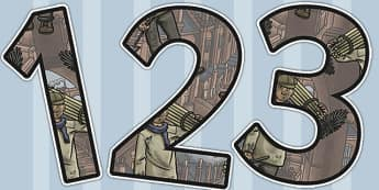 The Industrial Revolution Themed A4 Display Numbers - industrial revolution