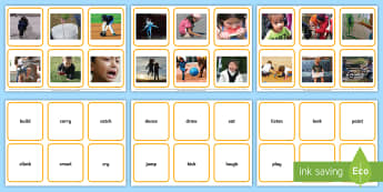 Verbs Photos Matching Cards  - Verbs Photo Display Poster A4 - verbs, grammar, literacy, display, grammer, verbsw, Gramar, verbss,