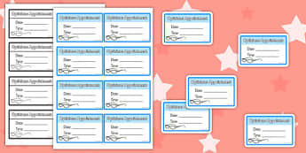 Opticians Role Play Appointment Cards - optician, roleplay, props