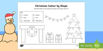Christmas Shapes Colouring Page