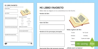 My Favourite Book Activity Sheet Spanish - KS3, Spanish, World, Book, Day, my, favourite, book, activity, sheet, worksheet, review